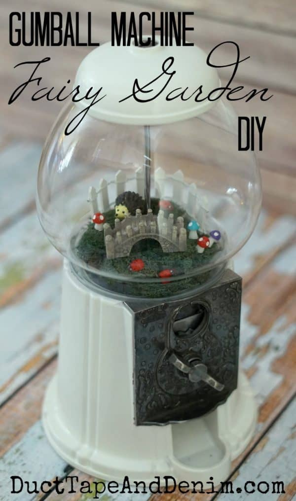 Thrifted gumball machine fairy garden DIY. Tutorial on DuctTapeAndDenim.com
