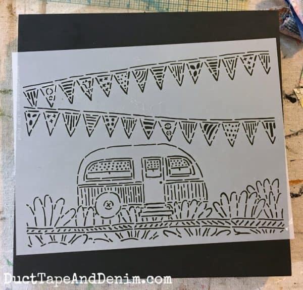 Vintage camper trailer stencil | DuctTapeAndDenim.com