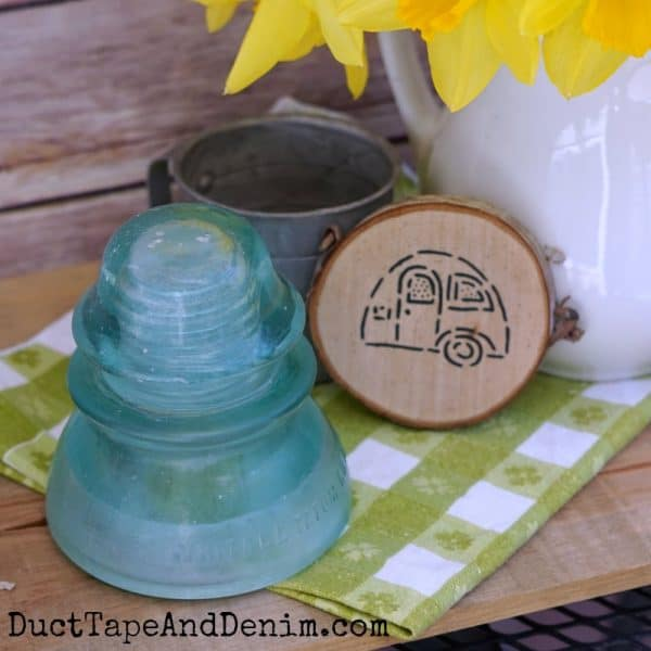 Vintage glass insulator, antique shop find & coasters made with small stencils | DuctTapeAndDenim.com