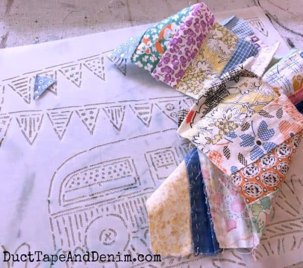 Vintage quilt pieces for camper canvas | DuctTapeAndDenim.com