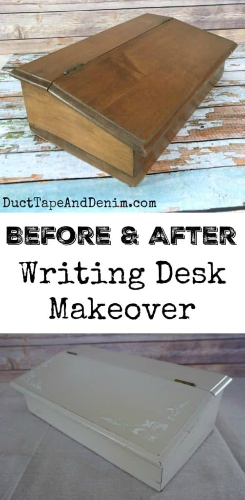 Vintage writing desk or stationary box makeover collage with title