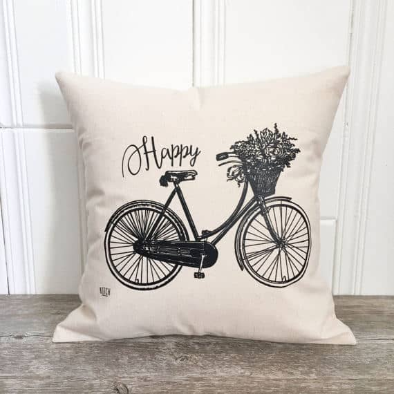 Black and white bicycle pillow cover, more spring pillow covers on DuctTapeAndDenim.com