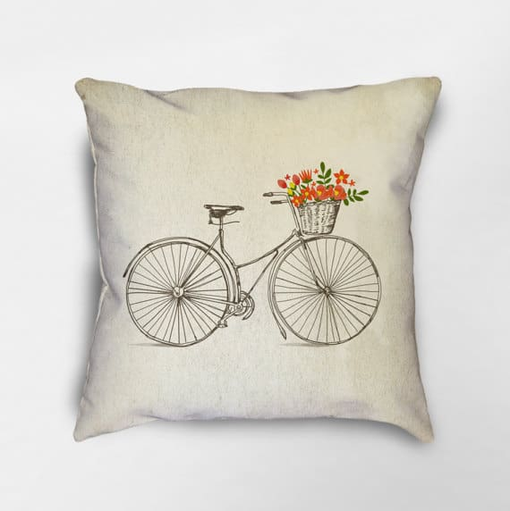 Spring bicycle pillow cover | DuctTapeAndDenim.com