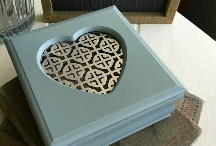 Small Jewelry Box with Heart Cutout in Lid