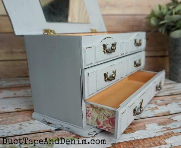 Finished thrift store makeover, blue jewelry box with floral paper | DuctTapeAndDenim.com