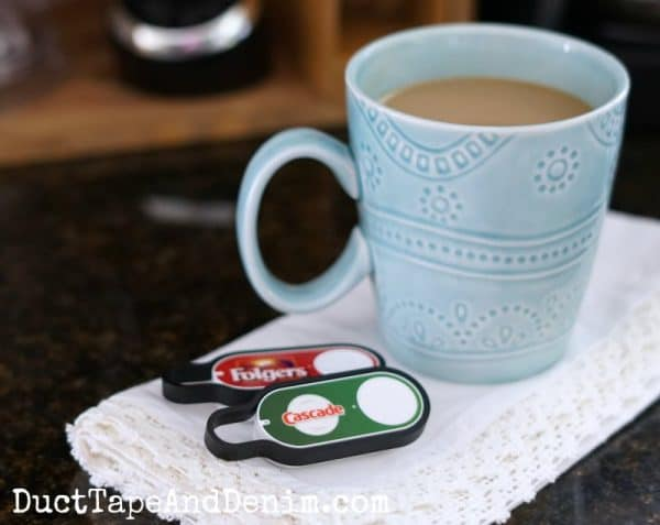 Folgers Cascade Amazon Dash Buttons in my kitchen | DuctTapeAndDenim.com