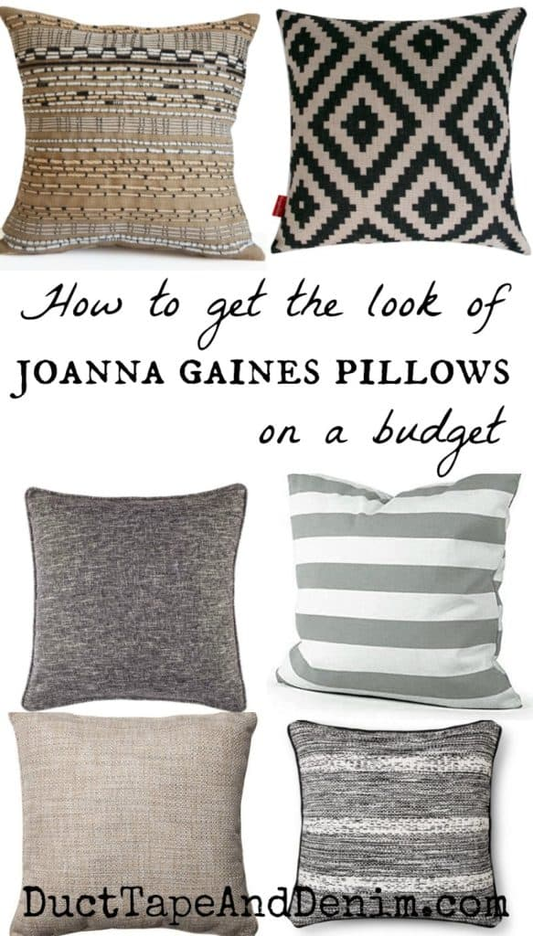 How to get the look of Joanna Gaines farmhouse style pillows on a budget. See the comparison on DuctTapeAndDenim.com