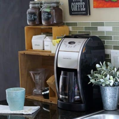 Kitchen Coffee Station Created from Thrift Store Finds!
