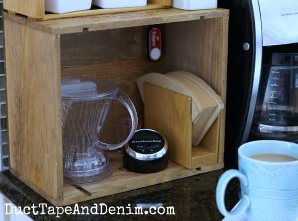My kitchen coffee station made out of an old wooden wine crate | DuctTapeAndDenim.com