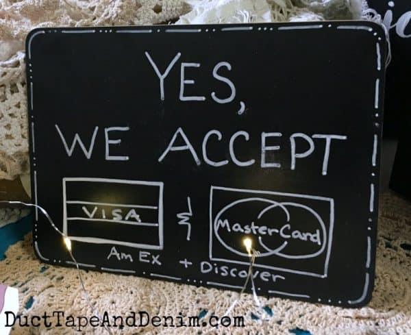 Our credit card chalkboard for flea markets | DuctTapeAndDenim.com
