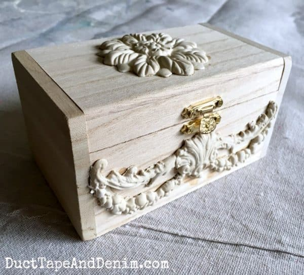 Paper clay castings on my DIY tea box | DuctTapeAndDenim.com