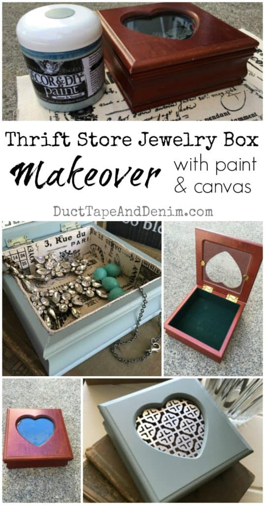 Small jewelry box makeover with paint and canvas | DuctTapeAndDenim.com