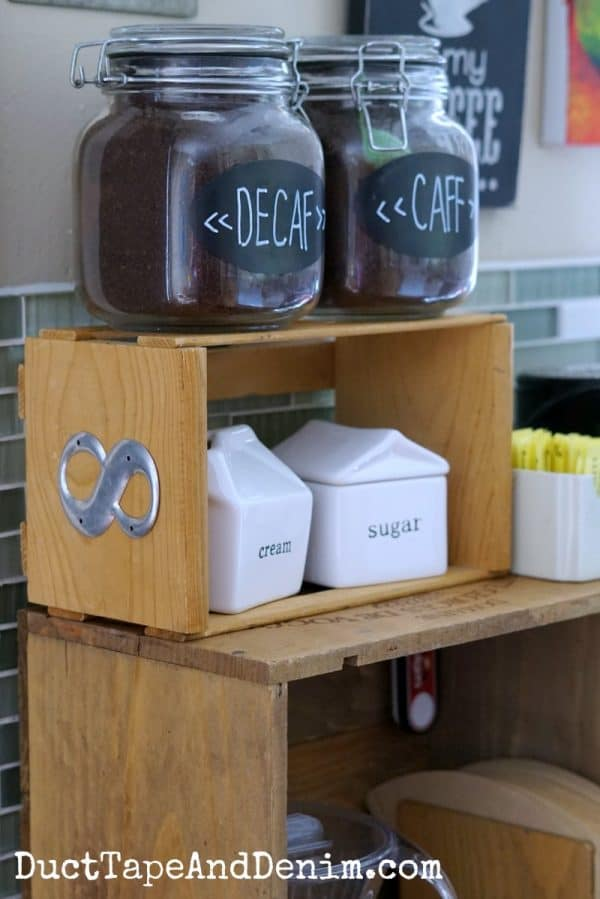 Two old wooden boxes make up my kitchen coffee bar