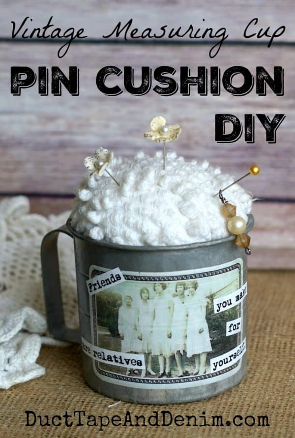 Vintage measuring cup DIY pin cushion. See more thrift store makeovers on DuctTapeAndDenim.com