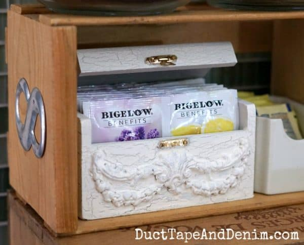 Vintage style DIY tea station with wooden tea box | DuctTapeAndDenim.com