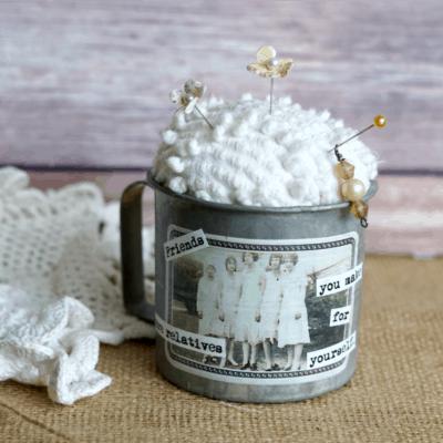 Vintage Tin Measuring Cup DIY Pin Cushion