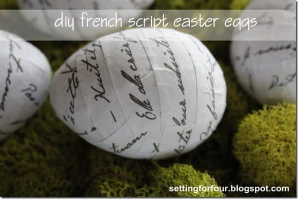 diy french script easter eggs