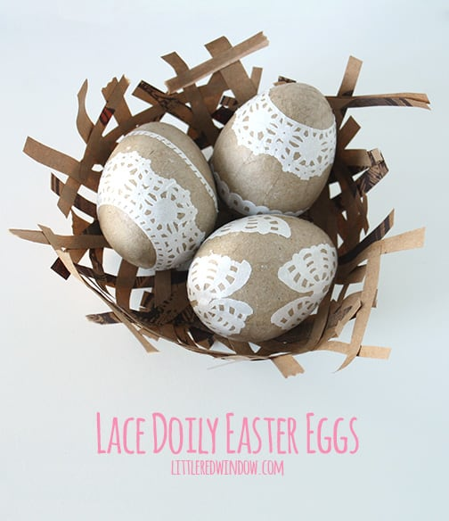 lace doily easter eggs
