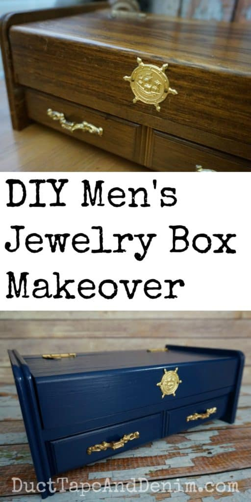 DIY men's jewelry box makeover from thrift store find | DuctTapeAndDenim.com