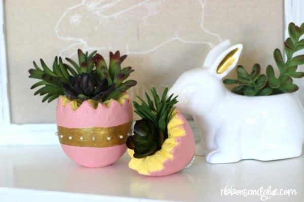 Easter egg succulent planter
