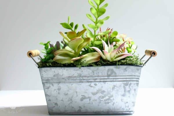 Faux Succulents in Galvanized Bucket