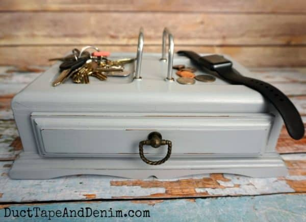 Finished jewelry box for men, thrift store makeover | DuctTapeAndDenim.com