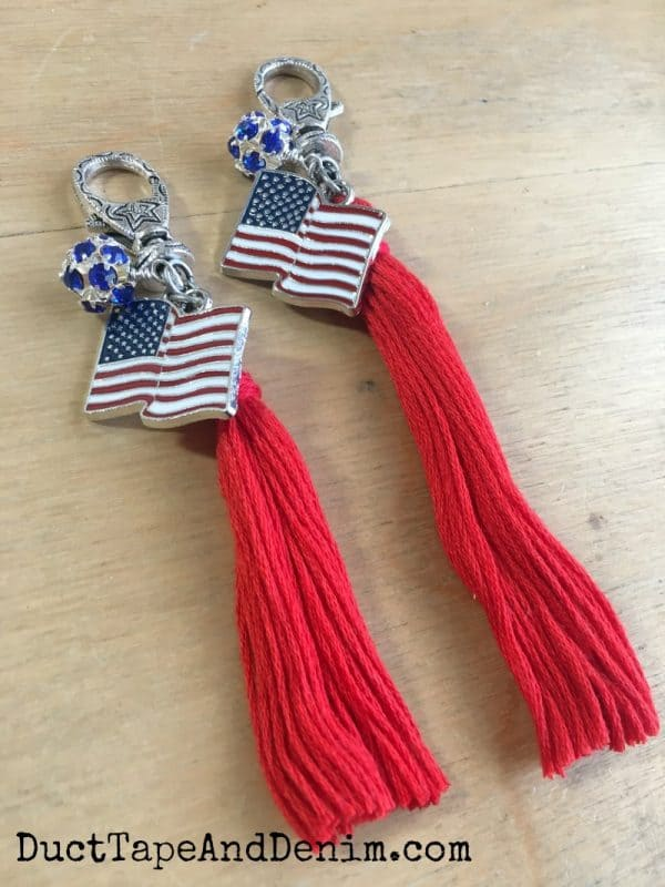 Finished patriotic purse charms with tassels on DuctTapeAndDenim.com