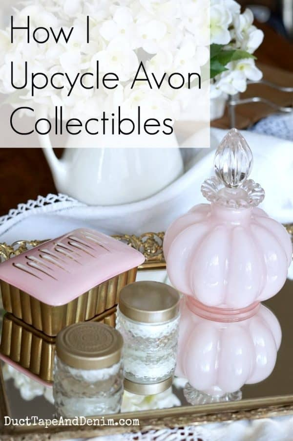 How I upcycle Avon collectibles, repurposing cream perfume jars and bottles on DuctTapeAndDenim.com
