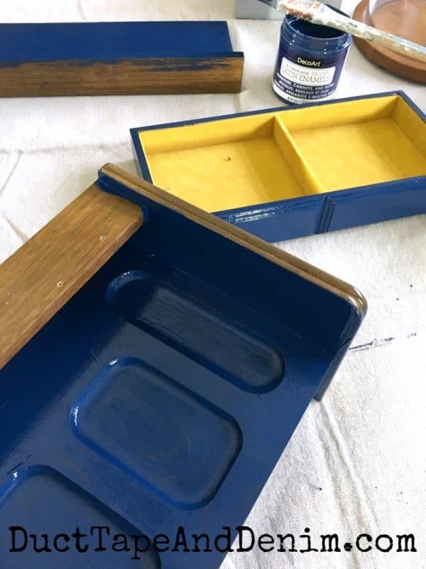 Painting my man's jewelry box with DecoArt Satin Enamel | DuctTapeAndDenim.com