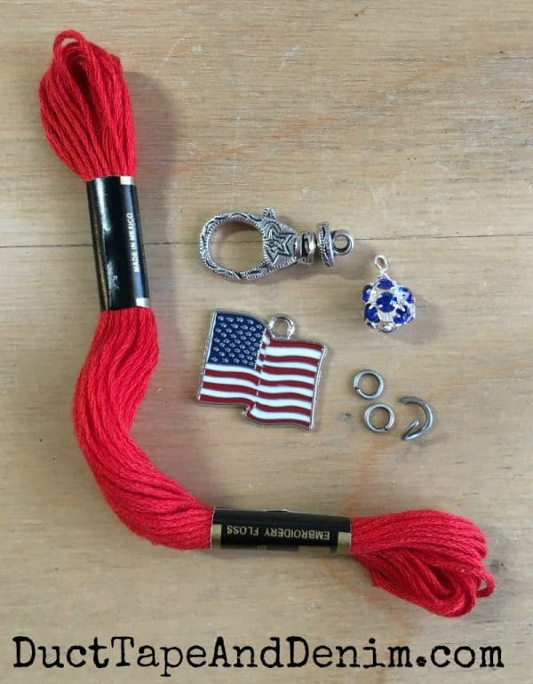 Supplies for making embroidery thread tassels on DuctTapeAndDenim.com