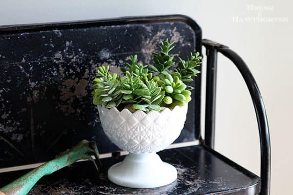 Vintage cut milk glass planter