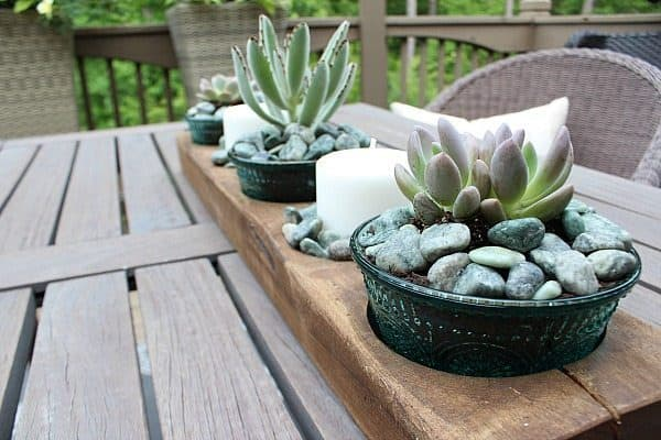 Vintage glassware planter centerpiece and more DIY planter ideas on DuctTapeAndDenim.com