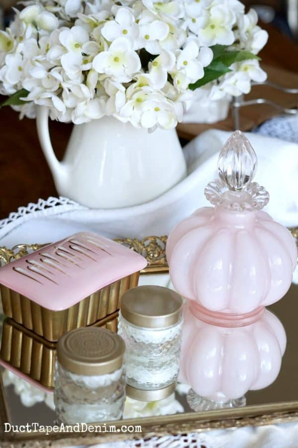 pink thrift store vignette