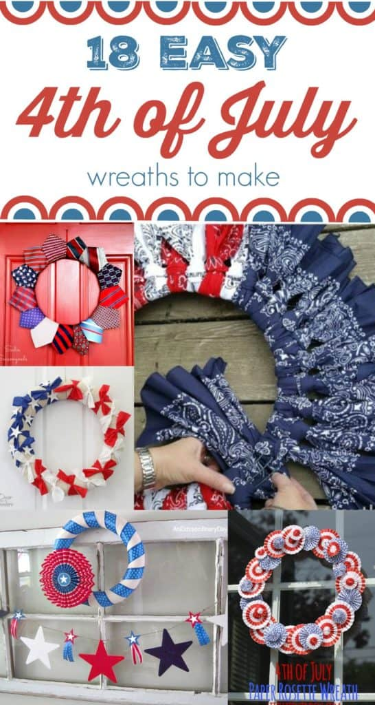 18 easy 4th of July wreaths to make, collage
