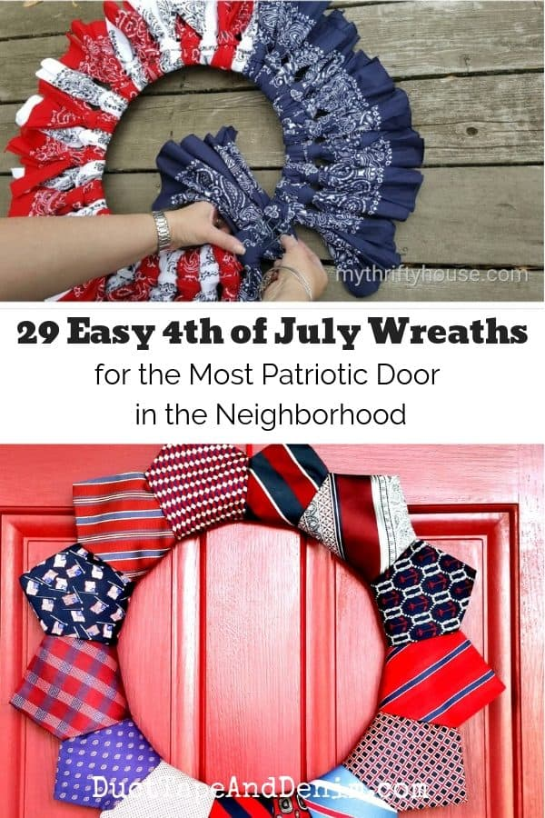 29 easy 4th of july wreaths, collage 1