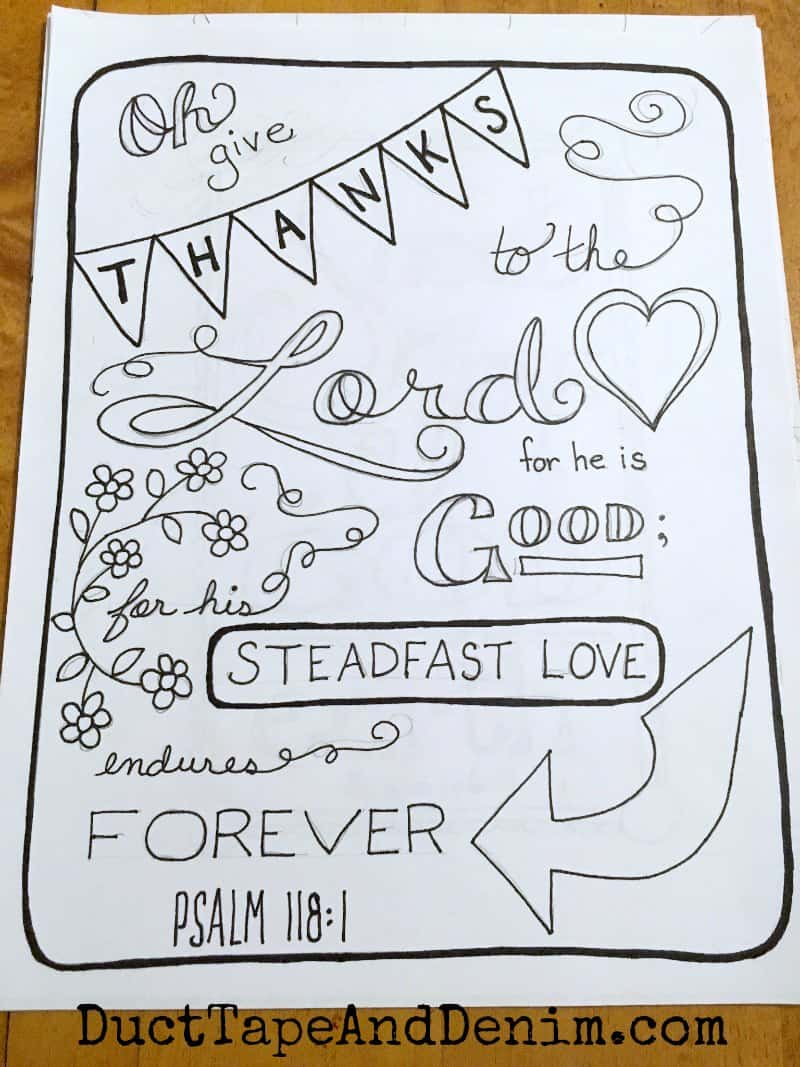 Finished outline for hand drawn Psalm 118 1 coloring page