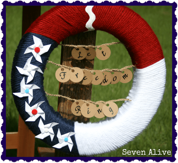 Let freedom ring yarn wreath. More July 4th wreaths on DuctTapeAndDenim.com