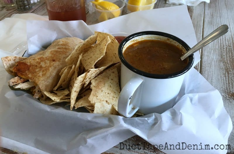 Lunch at Farm Luck, Waxahachie, Texas wrap, taco soup, tortilla chips, homemade salsa | DuctTapeAndDenim.com