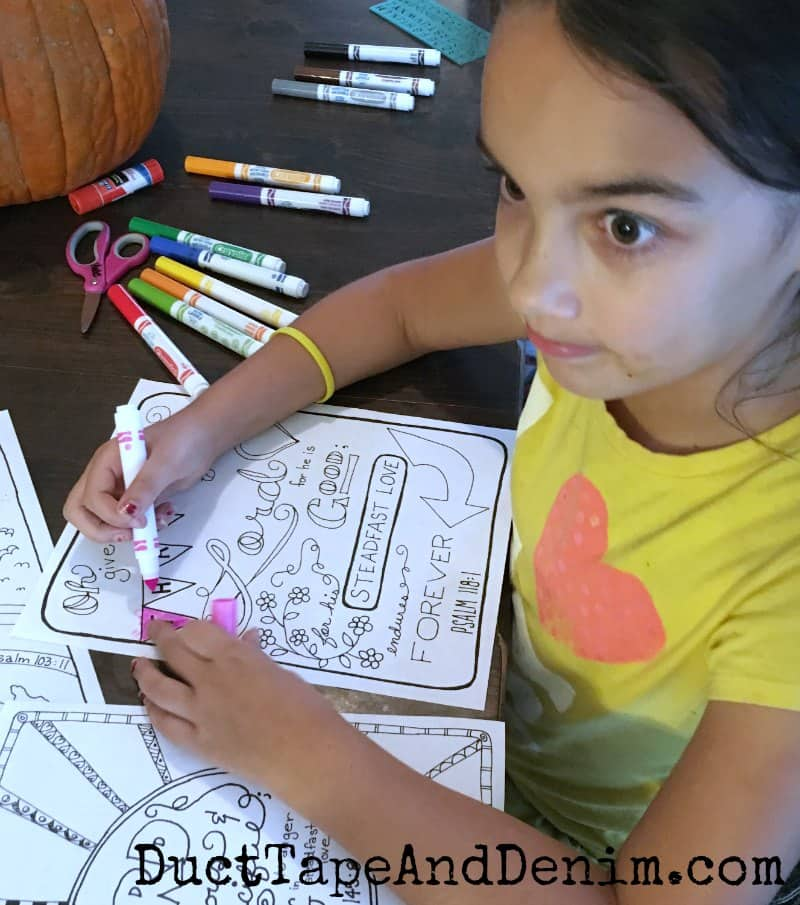 My niece enjoyed coloring the Psalm 118 1 sheet | DuctTapeAndDenim.com