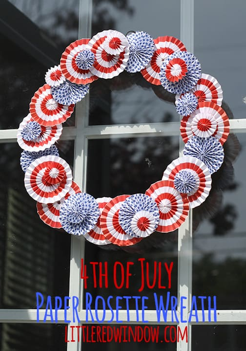 Paper rosette wreath for the 4th of July