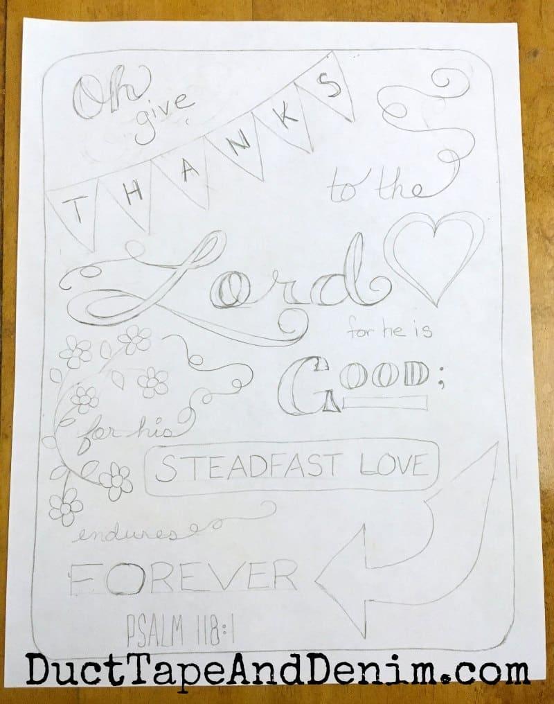 Pencil outline for Psalm 118 1 coloring page | DuctTapeAndDenim.com