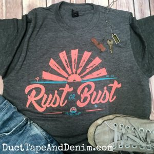 RUST OR BUST T-Shirt - Perfect for a day of thrifting, garage sales, and flea market shopping! DuctTapeAndDenim.com
