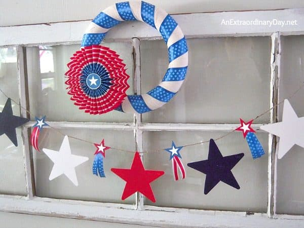 Vintage window and patriotic wreath. More wreath projects on DuctTapeAndDenim.com
