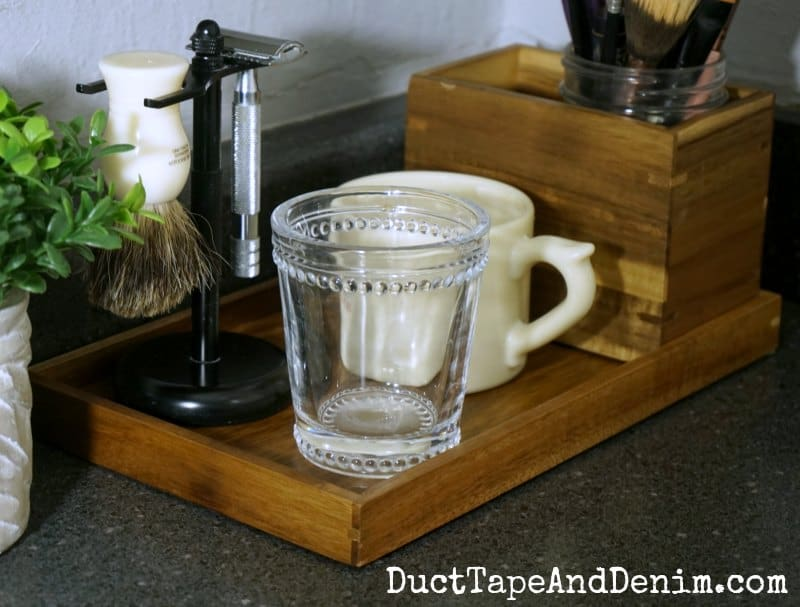 Wood Tray Organized Bathroom Counter, Farmhouse Style Bathroom Ideas |  DuctTapeAndDenim.com