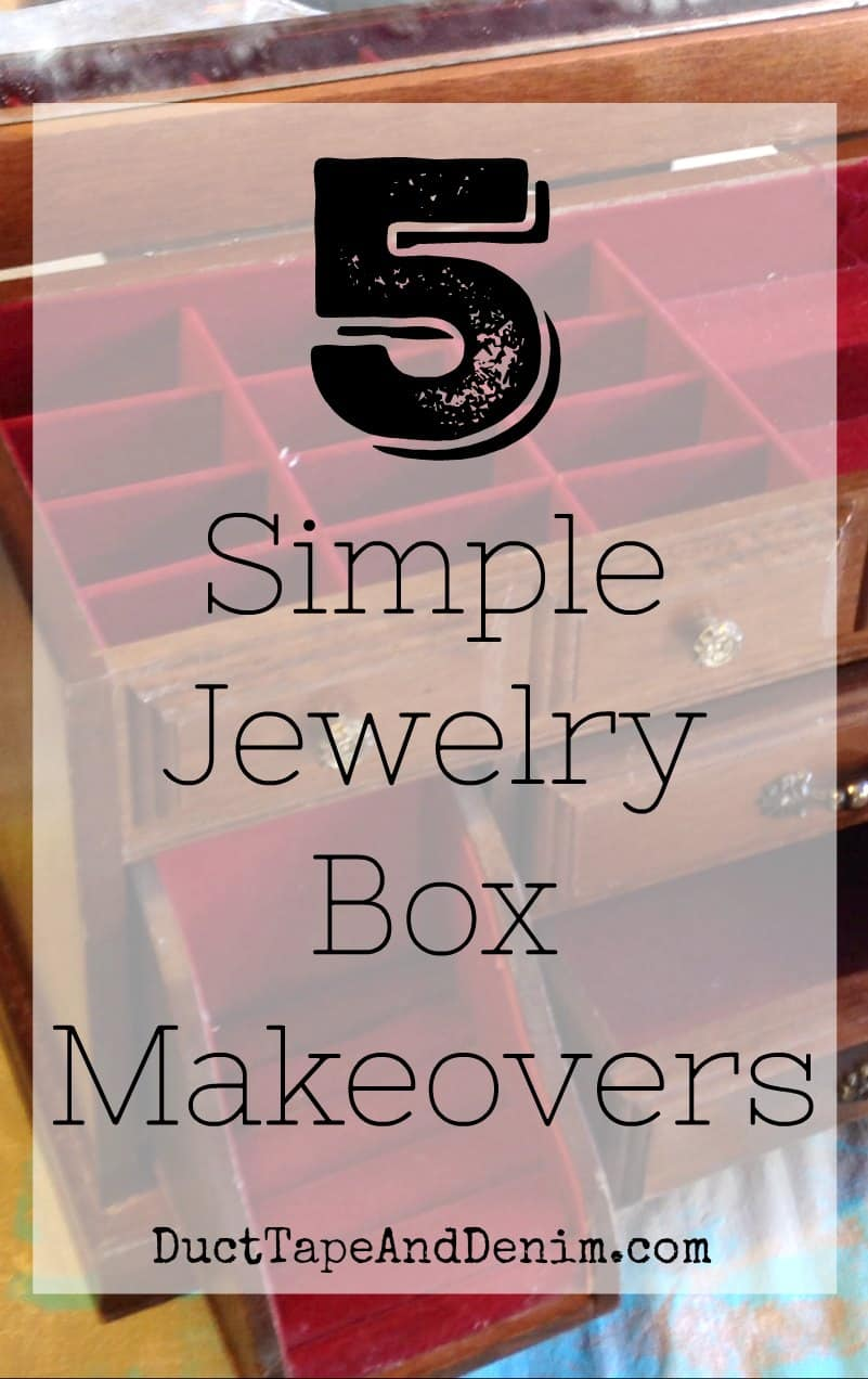 5 simple jewelry box makeovers on DuctTapeAndDenim.com