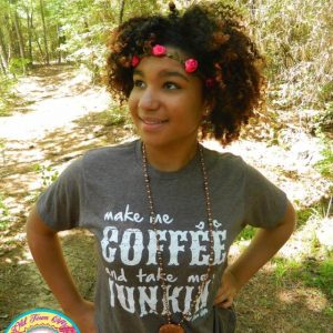 Make Me Coffee and Take Me Junkin' T-Shirt, perfect for flea market shopping, junkin', and antiquing | DuctTapeAndDenim.com