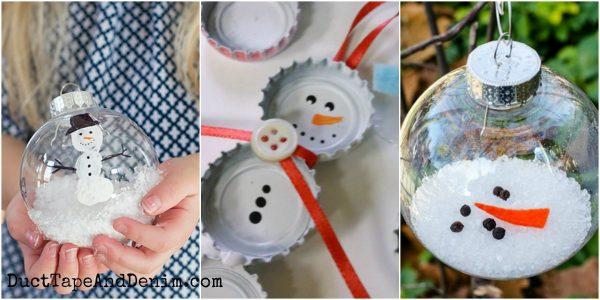 25+ DIY snowman Christmas ornaments on DuctTapeAndDenim.com