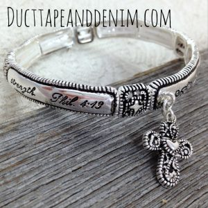 Philippians 4:13 bracelet, I can do all things with cross dangle | DuctTapeAndDenim.com