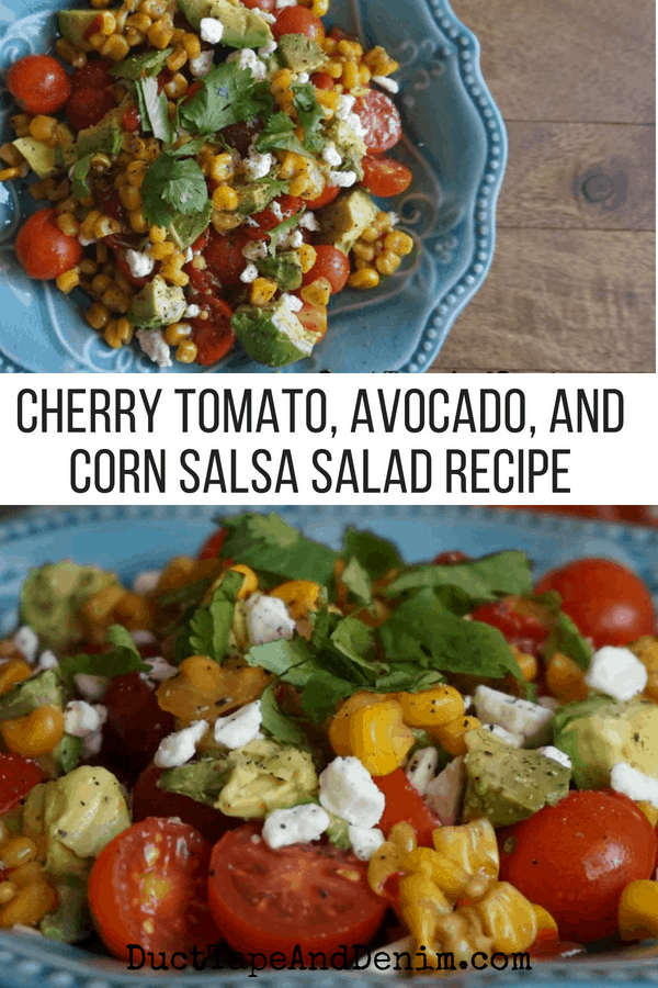 Cherry Tomato, Avocado, and Corn Salsa Salad Recipe. See all our favorite salad recipes on DuctTapeAndDenim.com