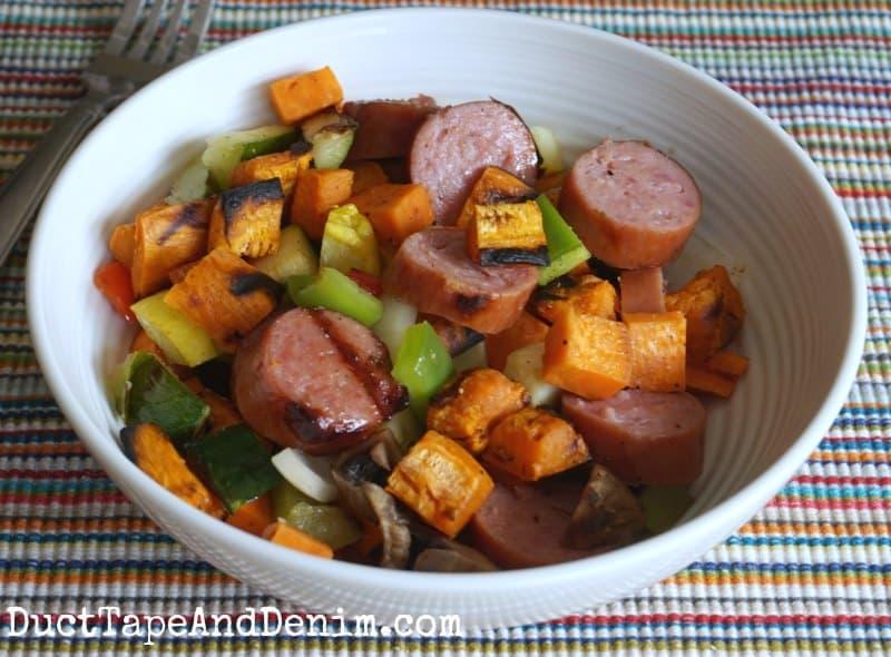 Bowl of summer sausage sweet potato hash   DuctTapeAndDenim.com